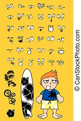 surfer kid cartoon expression set3