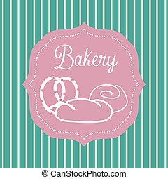 bakery - a pink label with text and bakery icons on a...