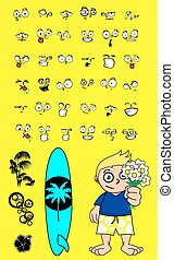 surfer kid cartoon expression set7