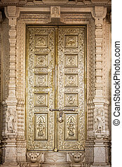magnificently door in india - door of a temple in the...