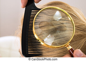 Dermatologist Looking Blonde Hair Through Magnifying Glass -...