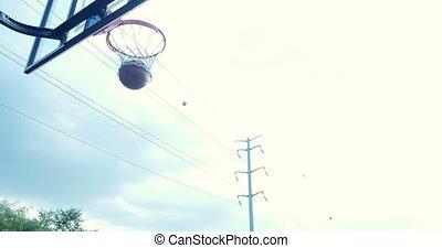Young boys playing basketball 4K - Young boys playing...