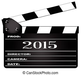 2015 Clapperboard - A typical movie clapperboard with the...