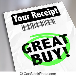 Great Buy Receipt Invoice Shopping Store Clearance Discount...