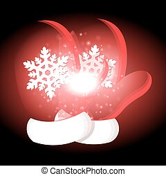 Christmas gloves  with Christmas background and greeting card vector