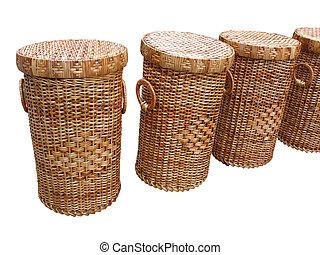encima, aislado, cestas, cestería, madera, blanco