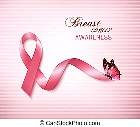 Background with Pink Breast Cancer Ribbon and butterfly...