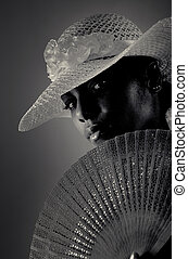 African fashion woman - Black and white portrait of...