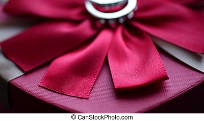 Two rings lie on a red bow