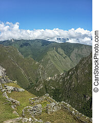 Ruins and Mountains in Machu Picchu Aerial View -...