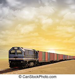 Freight Train - A Freight Train with Sunset, Sunrise - A...