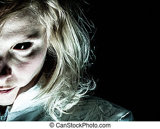 Demon-like Woman with Black Eye Looking at the Camera