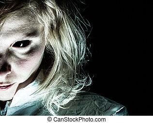 Demon-like, femme, à, noir, Eye, ,