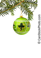 Irish Christmas border with green bauble