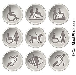 Disability Icons - Monochrome disability related icon set...