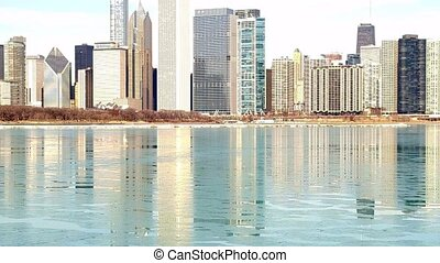 Chicago lakefront skyline - Chicago, Illinois skyline seen...
