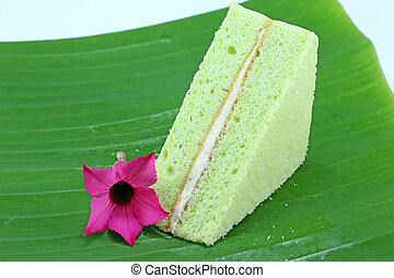 green chiffon cake on leaf