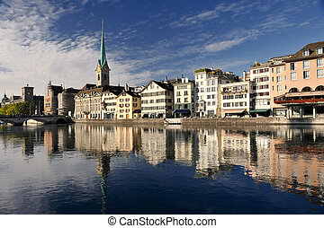 Zurich cityscape Famous Fraumuenster Cathedral