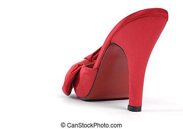 vermelho, alto, calcanhar, sapato