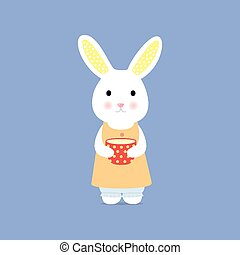 Cute rabbit with cup