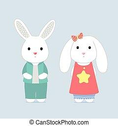 The shy bunnys, vector card