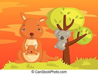 Kangaroo and Koala