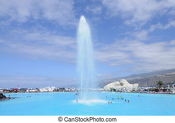 Fountain in Lago Martianez - sea-water pool complex in...