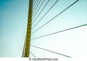 rope bridge  - close up rope bridge with retro sky