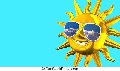 Golden Smiling Sun With Sunglasses On Blue Text Space...