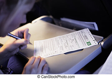 Woman Filling Document in the Airplane