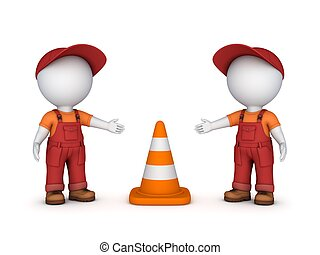 3d small people and traffic cone.