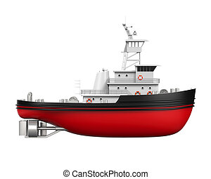 Tugboat Isolated - Tugboat isolated on white background. 3D...