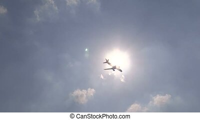 Aeroplane TravelsAir journey - Aeroplane passing under the...