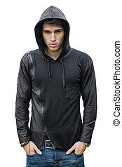 Handsome young man in black hoodie sweater isolated on white...