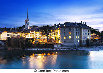 Bern city by night - A view of the lower end of old town...