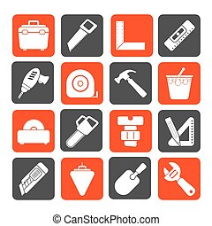 Construction objects and tools icon