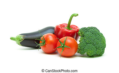 Ripe vegetables isolated on white background close-up