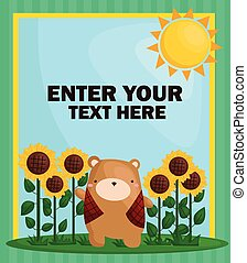 Sunflower Bear Card