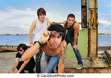 Cool guys team posing - Portrait of young trendy team of...