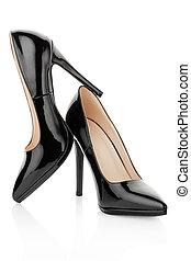 élevé, noir, chaussures, talon,  élégant