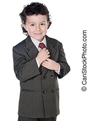 adorable child with elegant clothes a over white background