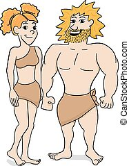 prehistoric cave dweller couple - vector illustration of a...
