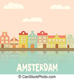 Amsterdam Holland Card with Colorful Houses and Canal Vector...