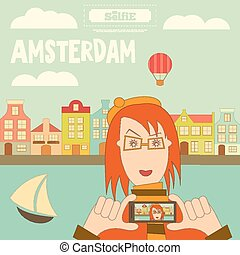 Amsterdam. Holland Card with Colorful Houses and Canal....
