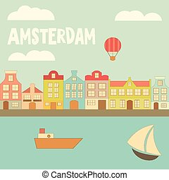 Amsterdam Holland Card with Colorful Houses, Canal and Boats...