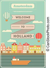 Amsterdam. Holland Card with Colorful Houses and Canal in...