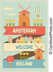 Amsterdam Holland Retro Card with Windmill and Tulips Vector...