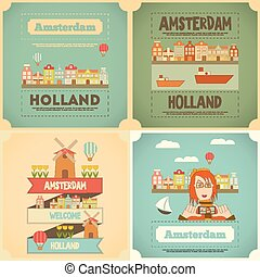 Amsterdam. Holland Card Collection in Flat Design. Vector...