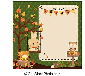 Woodland Autumn Animal Card