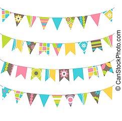 Conjunto, de, multicolor, plano, buntings, guirnaldas,...